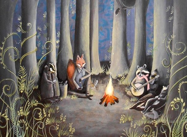 Green Meadow, Erin Huybrecht Davis, Animals at campfire-cropped